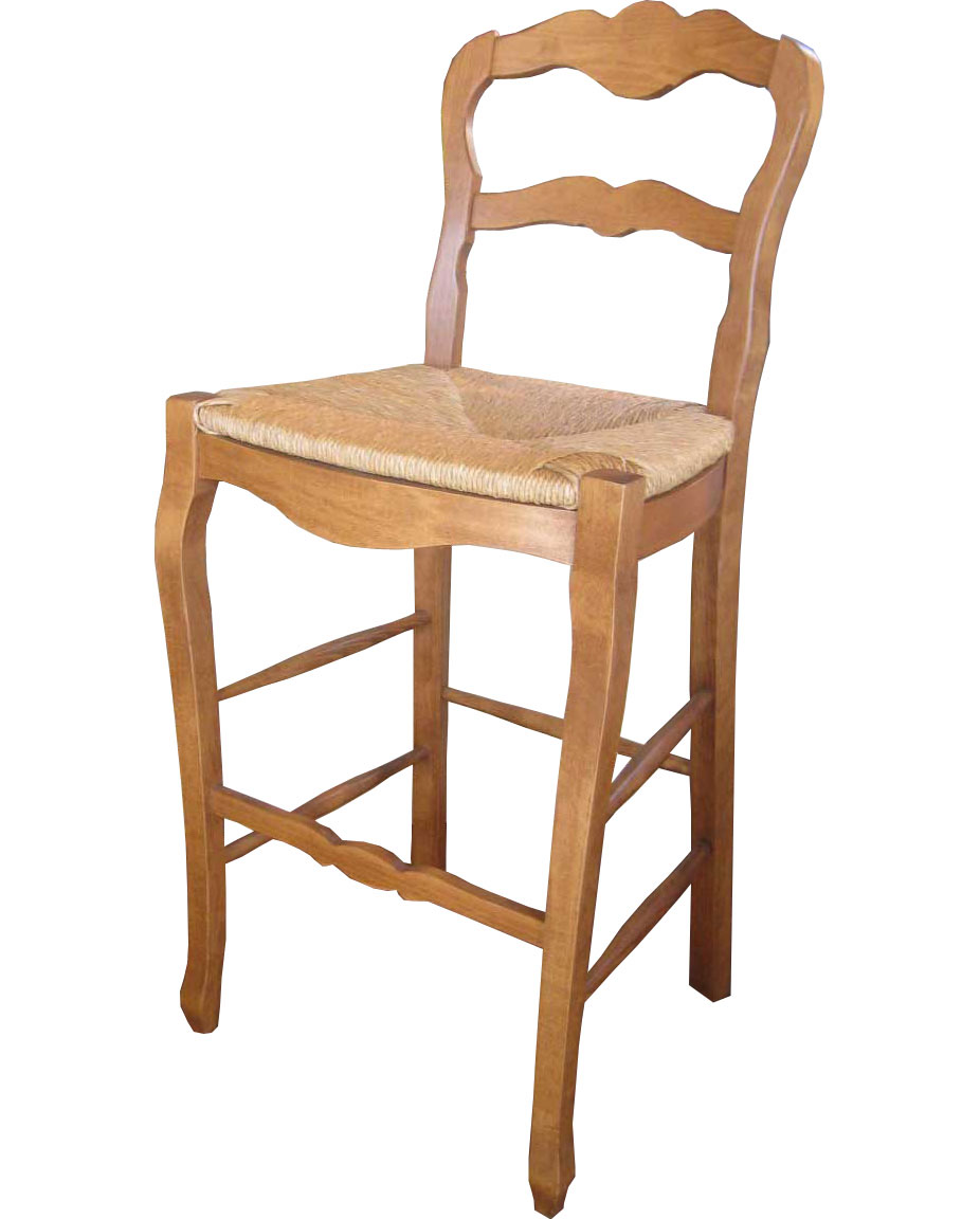 Country French Ladderback Barstool with Natural stain