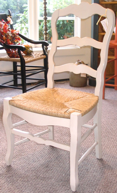 Country French Ladderback Dining Chair with White milk paint