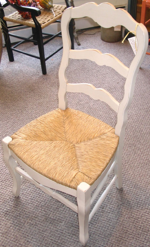 Country French Ladderback Side Chair White with Rush seat