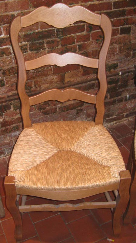 Country French Ladderback Dining Chair with Natural stain
