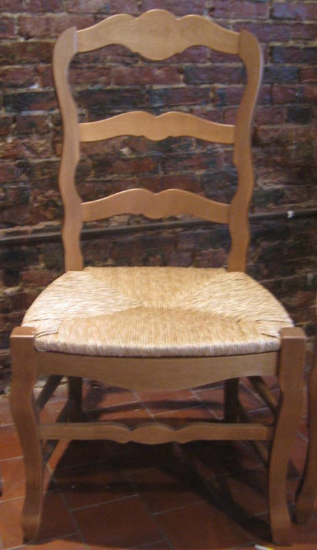Country French Ladderback Side Chair with Rush seat