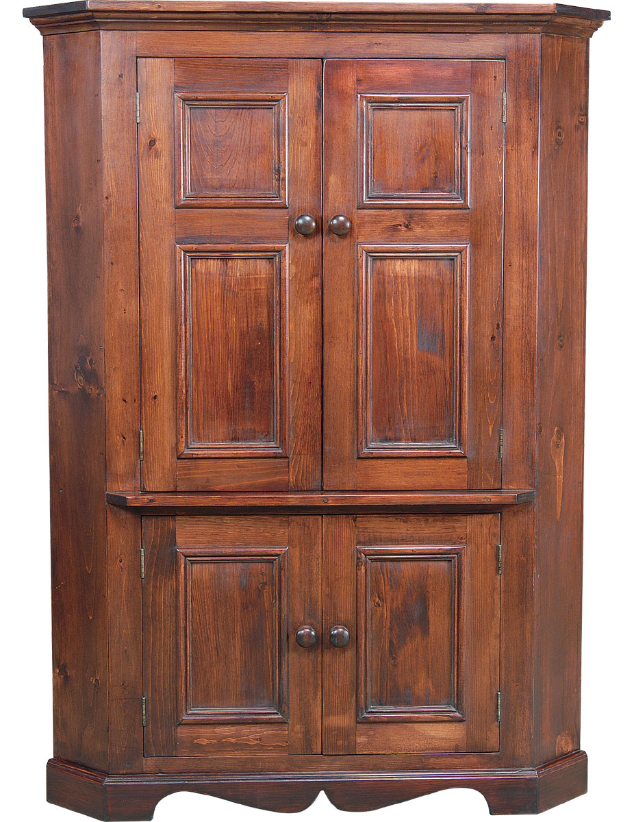 Corner TV Armoire finished in black cherry stain