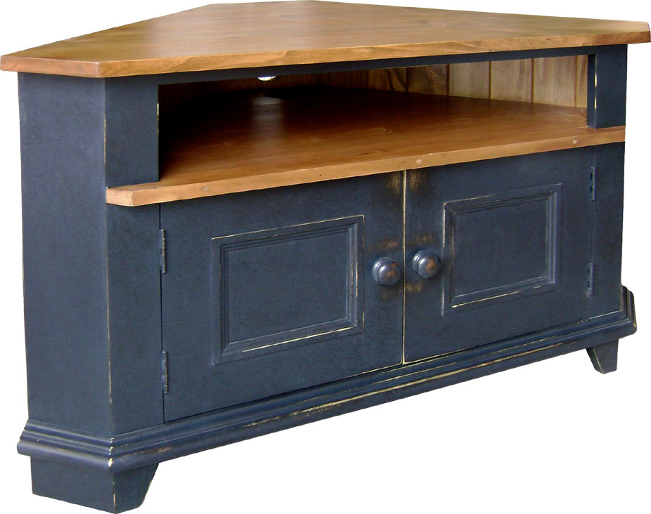 Corner TV stand with two doors and open shelf, painted or stained