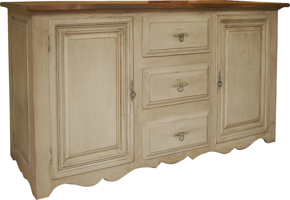 country french buffet painted with rubbed finish