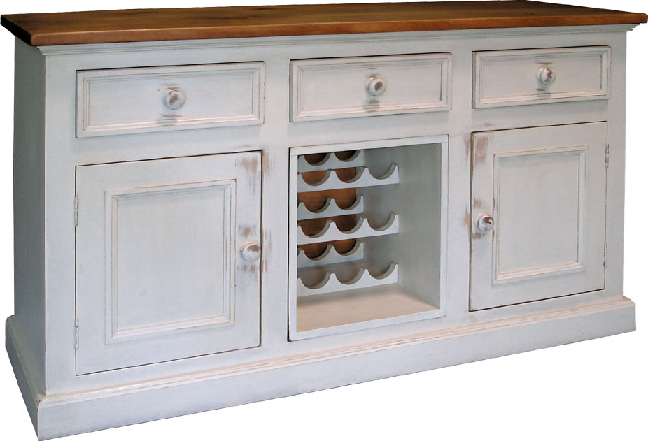 country wine buffet painted with rubbed finish