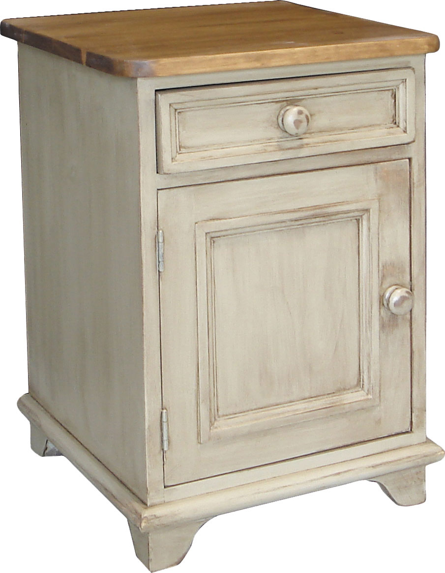door and drawer end table with one drawer and one door, one shelf, and painted