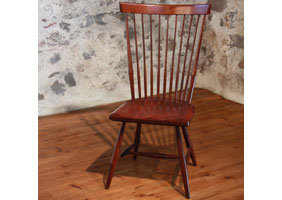 Fan Back Side Chair with Wood seat stained in Antique Mahogany