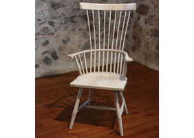 Fan Back Arm Chair in White milk paint with Wood seat painted