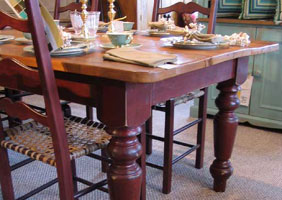 7 Foot Farm Table with Vintage in Barn Red