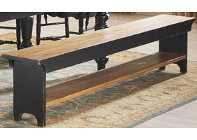 French country bench, 7 foot long, painted black with natural seat