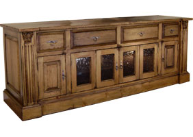 French provincial media console with bifold doors and drawers, painted