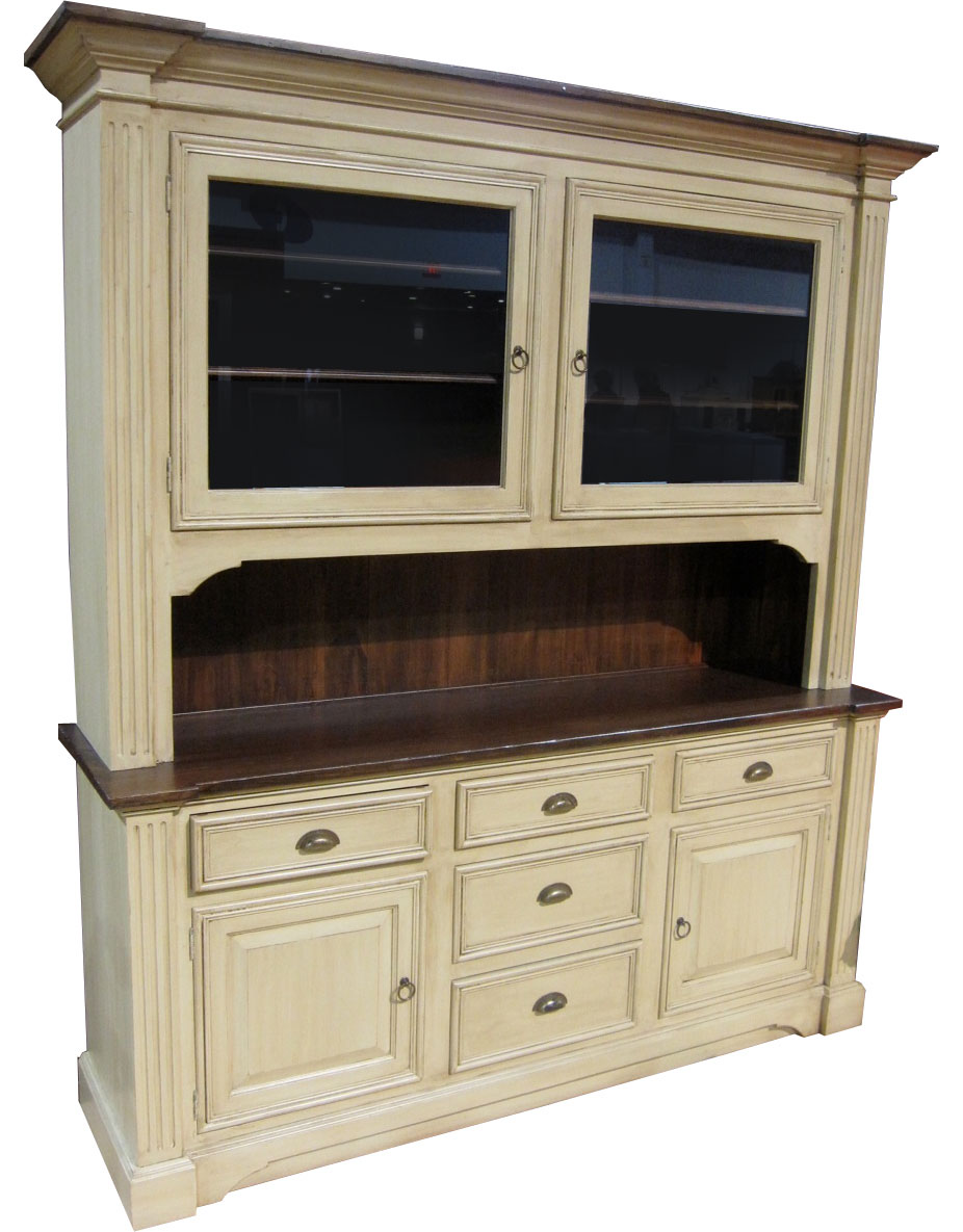 french provincial hutch finished in buttermilk glaze paint