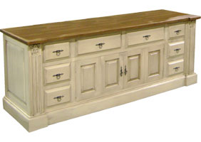 French provincial tv stand with bifold doors and drawers, painted