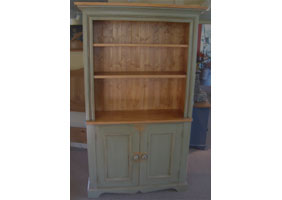 Hutch Open Shelf Bookcase with green finish and natural stain top and interiors