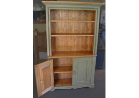 Hutch Open Shelf Bookcase with acadia pear a moss green finish and natural stain top and interiors