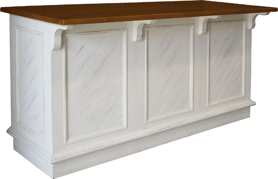 Kitchen island, open shelf, overhanging top for seating, painted or stained