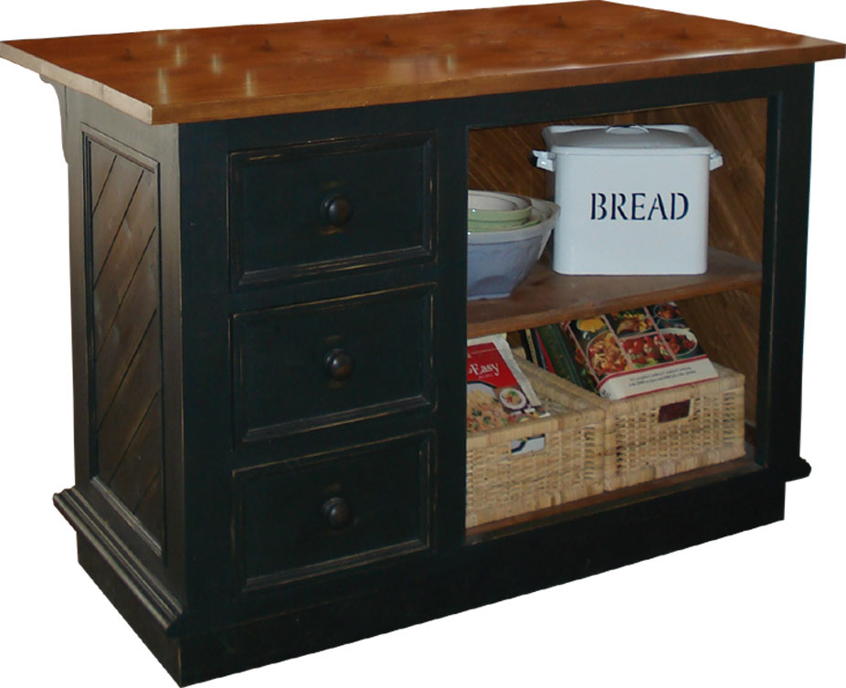 Kitchen island, three vertical drawers, counter top with seating, painted or stained