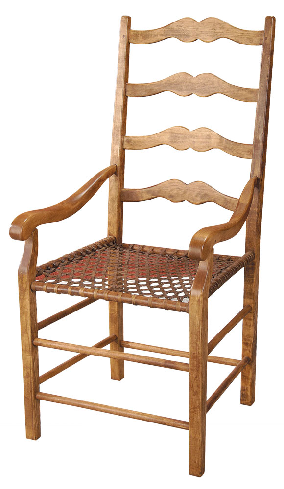 French Country ladderback arm chair stained