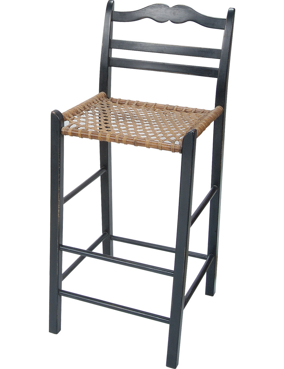 French Country ladderback barstool with snowshoe seat