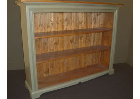 Low Bookcase with acadia pear green finish and natural stain top and interiors