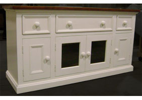 Media Console TV stand with four doors and three drawers, painted