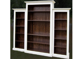 Nesting bookcase wall unit with three bookcases finished in white paint and walnut stain