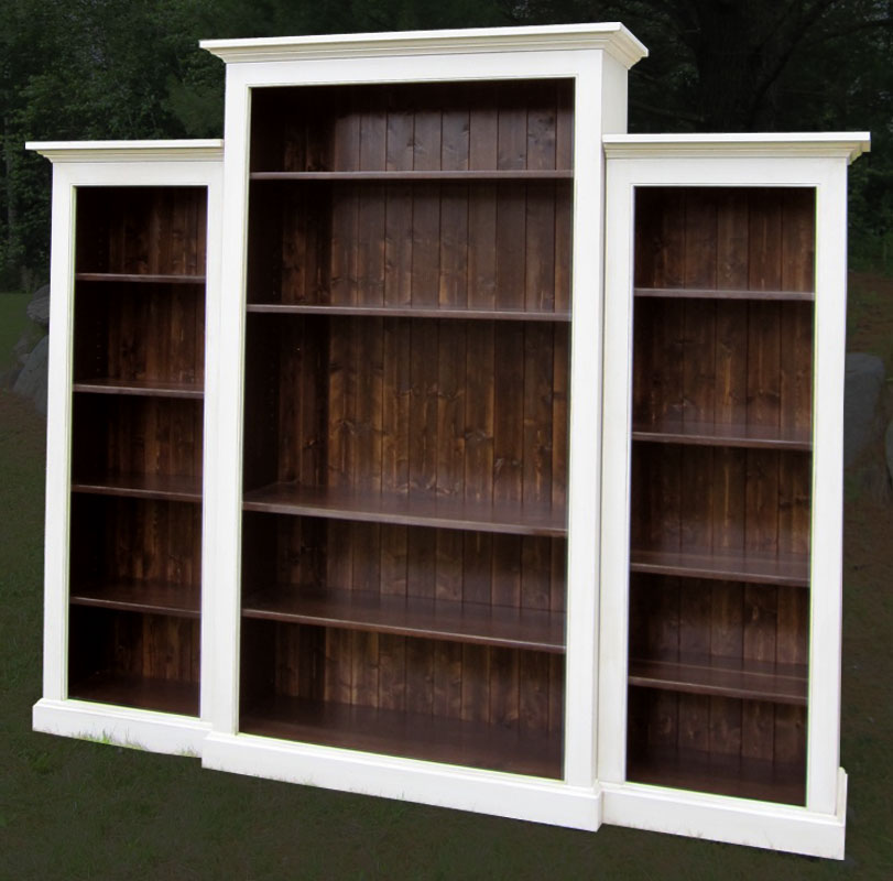 French Country Nesting Bookcase Wall Unit With Fixed And