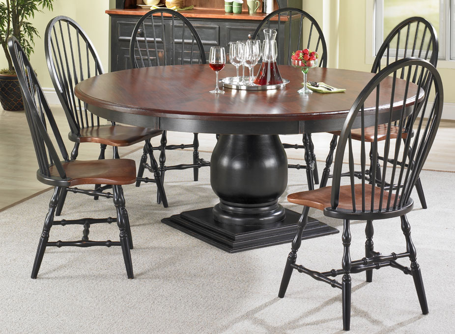 French Country 72 inch Round Pedestal Dining Table Set ...