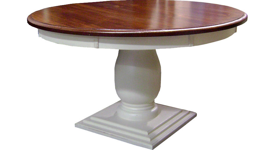 French Country 54 Round Pedestal Table, Aged Finish Top, Painted White