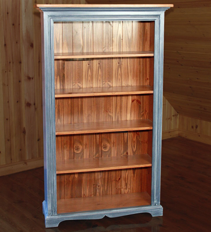 French Country Six Foot Bookcase With Fixed Shelves