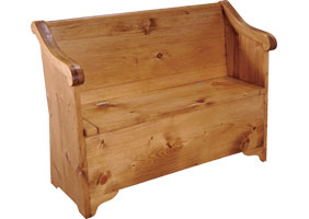 Sleigh bench with hidden storage under seat finished in natural stain