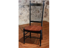 Spindleback Side Chair in Black milk paint with Wood seat stained in Black Cherry