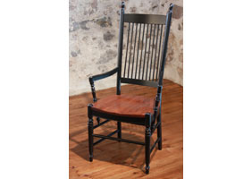 Spindleback Arm Chair in Black milk paint with Wood seat stained in Black Cherry