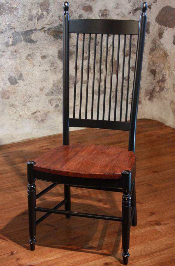 Spindleback Dining Chair With Black Paint And Black Cherry Stained Seat