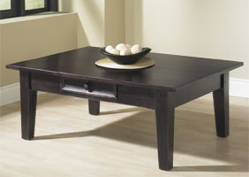 Square leg coffee table with tapered legs, 4 feet wide, stained in Espresso stain