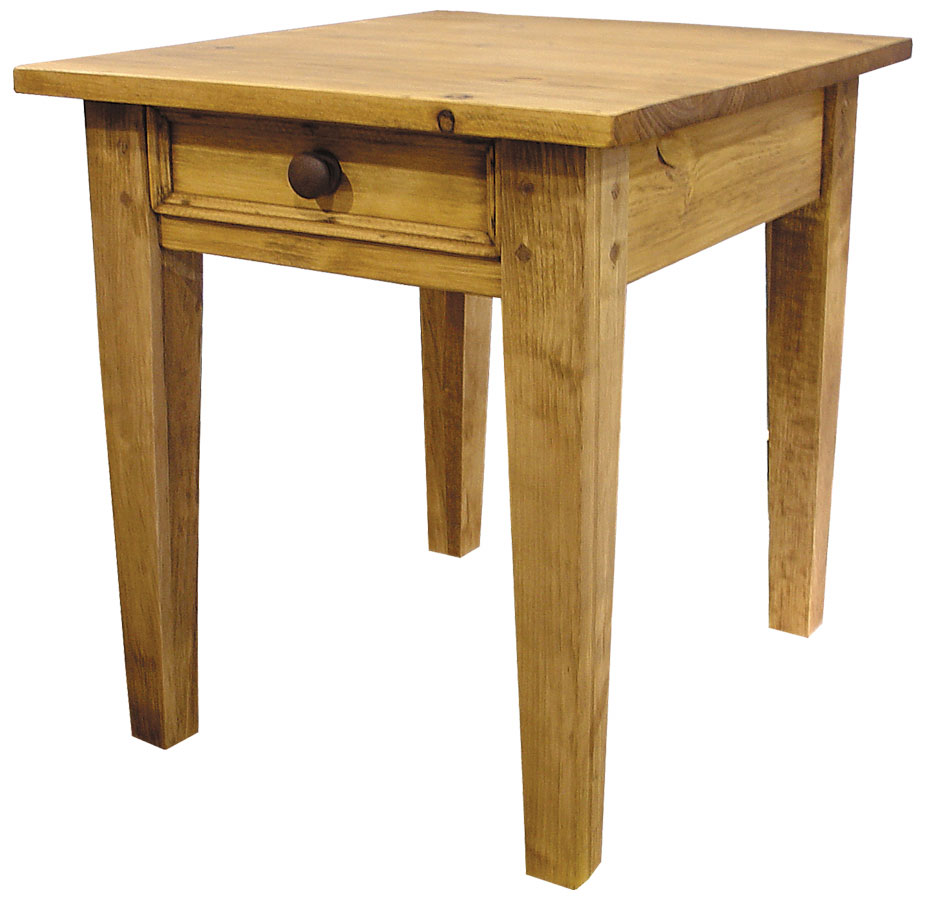 square leg end table with drawer stained