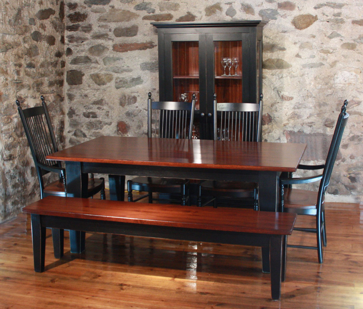 square leg dining room table finished in black paint