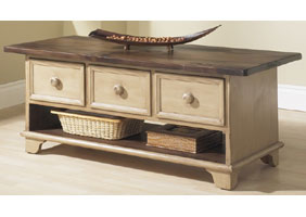 Three drawer coffee table with open shelf, over 4 feet wide, painted