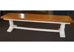 Trestle bench, 7 foot long, painted white with natural seat