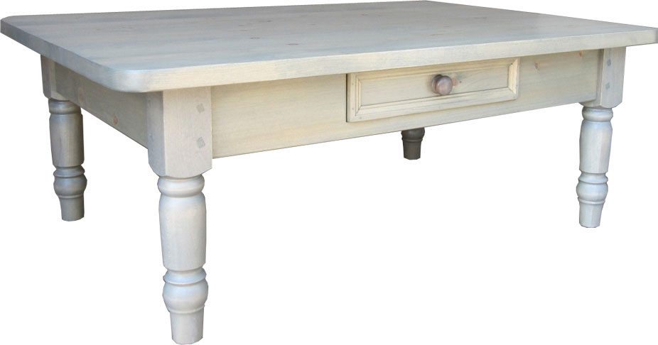 Turned Leg Coffee Table With One Drawer, 3 Inch Turned Legs, Painted Or  Stained