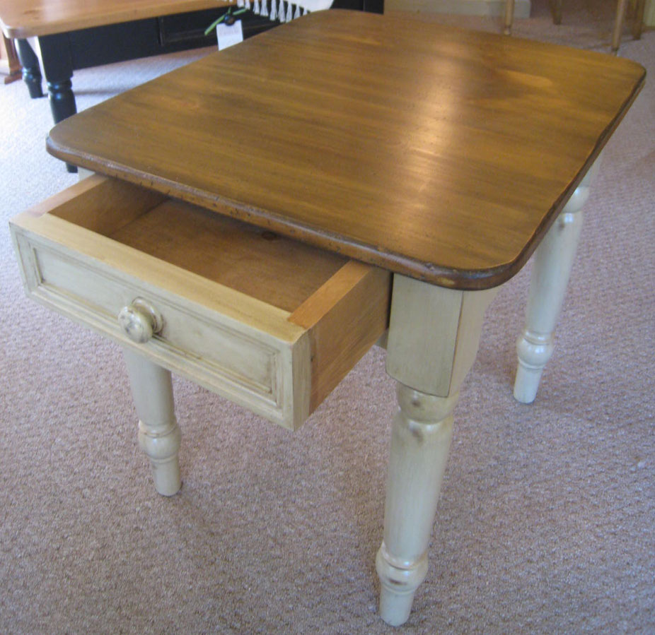 turned leg end table with drawer painted in millstone paint finish with caramel aged finish top