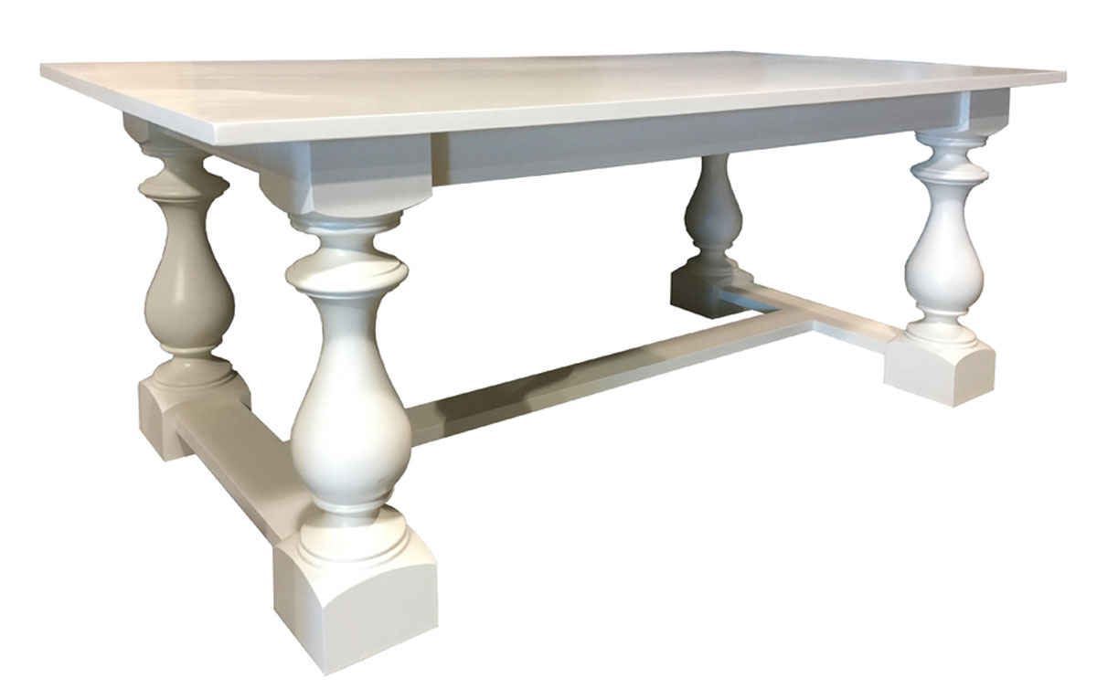 French Country Turned Leg Trestle Table, painted champlain white