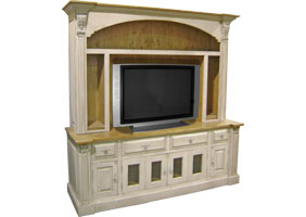 provincial tv armoire open shelves champlain white