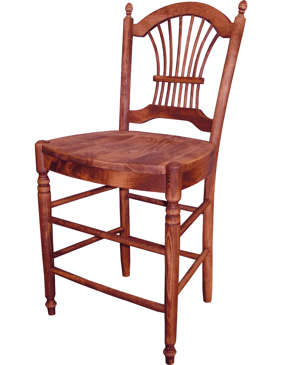 French Country wheat back barstool with black cherry stain