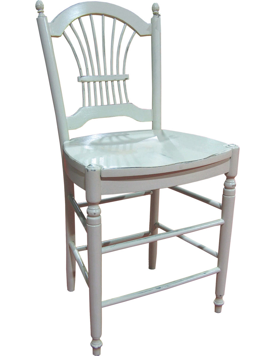 French Country wheat back stool with champlain white paint