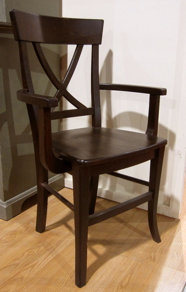 X Back Arm Dining Chair finished in Espresso stain with wood seat