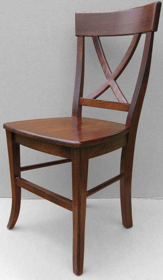X Back Side Dining Chair finished in Sequoia Aged Finish stain with wood seat