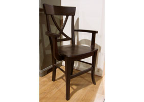 X Back Arm Chair with Wood seat stained in Espresso