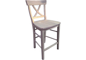 X back barstool with gray paint