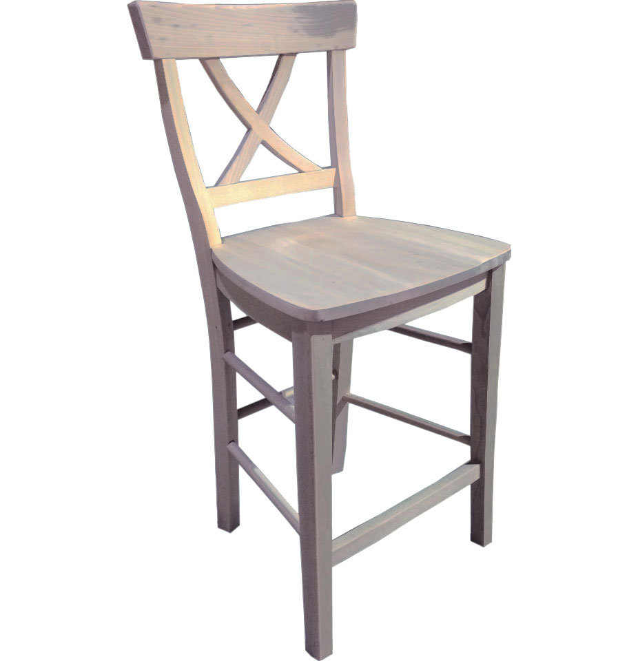 x back stool with gray paint